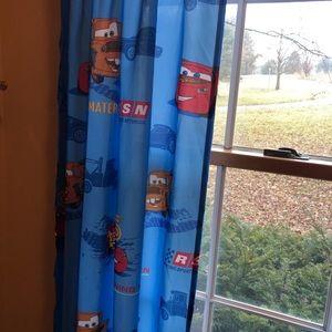 Disney Pixar Cars blue curtains set of 3
